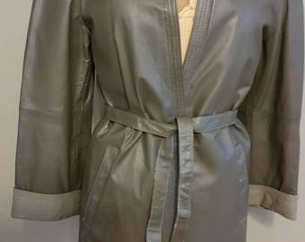 "Vintage Gray Leather ""Car Coat"""