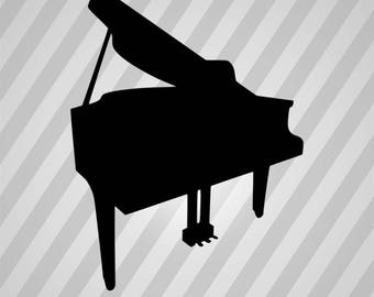 Piano Silhouette - Svg Dxf Eps Silhouette Rld RDWorks Pdf Png AI Files Digital Cut Vector File Svg File Cricut Laser Cut