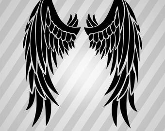 Angel wings - Svg Dxf Eps Silhouette Rld RDWorks Pdf Png AI Files Digital Cut Vector File Svg File Cricut Laser Cut