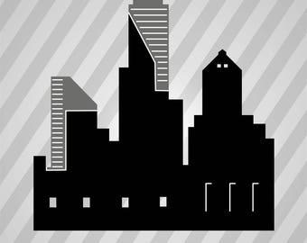 city skyline - Svg Dxf Eps Silhouette Rld RDWorks Pdf Png AI Files Digital Cut Vector File Svg File Cricut Laser Cut