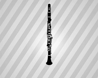 clarinet Silhouette - Svg Dxf Eps Silhouette Rld RDWorks Pdf Png AI Files Digital Cut Vector File Svg File Cricut Laser Cut