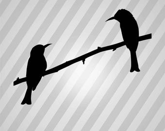 two birds on branch Silhouette - Svg Dxf Eps Silhouette Rld RDWorks Pdf Png AI Files Digital Cut Vector File Svg File Cricut Laser Cut
