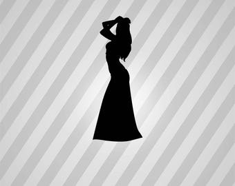 beautiful woman Silhouette - Svg Dxf Eps Silhouette Rld RDWorks Pdf Png AI Files Digital Cut Vector File Svg File Cricut Laser Cut