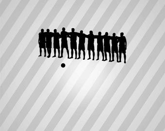soccer team Silhouette - Svg Dxf Eps Silhouette Rld RDWorks Pdf Png AI Files Digital Cut Vector File Svg File Cricut Laser Cut