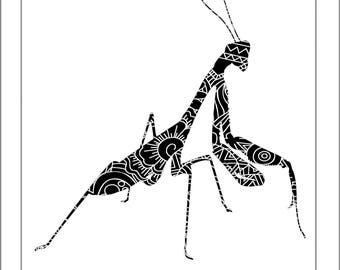 Praying Mantis Papercut Template - Svg Paper Cut Templates Stencil Line Art Henna Mandala Pdf Cut Files Digital Clip Art Drawing
