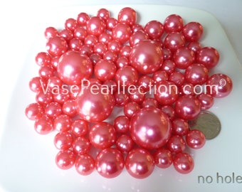 No Hole 80 All Coral Pearls/Peach Pearls in Jumbo & Assorted sizes for Floating Vase Centerpieces and Tablescapes