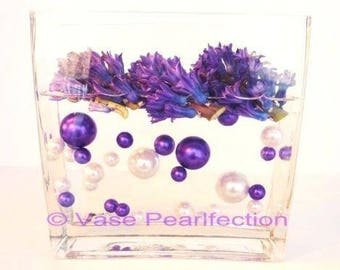 Purple Pearls and White Pearls Vase Fillers in Jumbo and Assorted Sizes for Centerpieces