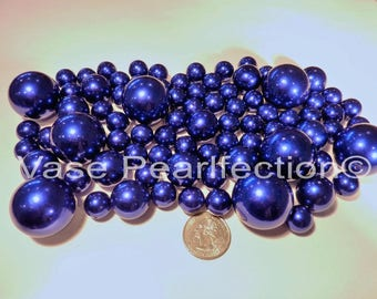 All Royal Blue Pearls Vase Fillers in Jumbo and Assorted Sizes for Event Centerpieces and Home Decor