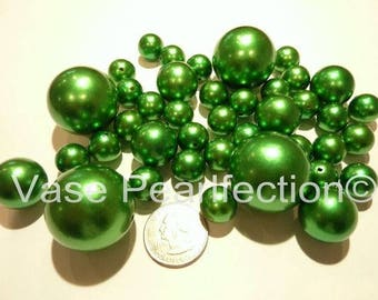 All Kelly Green Pearls/Holiday Christmas Green Pearls Vase Fillers in Jumbo and Assorted Sizes for Centerpieces