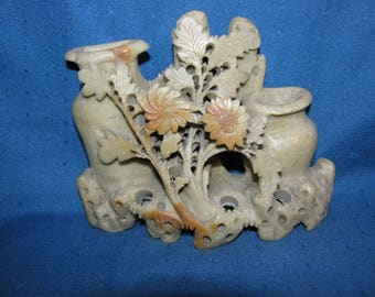 Beautiful Chinese Soapstone Carving of Flowers & Vases
