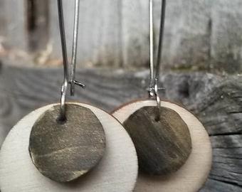 Wood and Repurposed Bicycle Tube Earrings