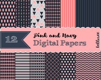 12 Pink and Navy Digital Papers. Arrows. Lattice. Quatrefoil. Stripes. Chevron. Dots. Triangles. PNG files.