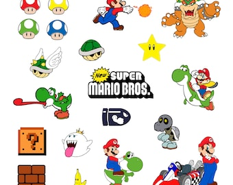 Super mario #2 Svg/Eps/Png/Jpg/Cliparts,Printable, Silhouette and Cricut File !!!