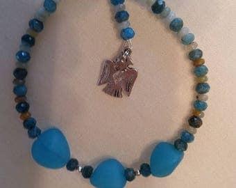Blue stone bracelet with eagle charm