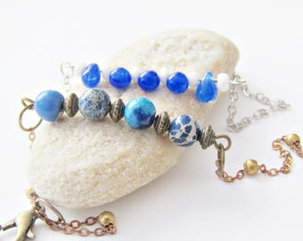 Blue Ocean bracelet with semi precious beads and curb chain