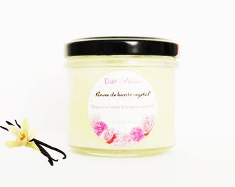 Organic Shea butter and organic vanilla-fruity fragrance