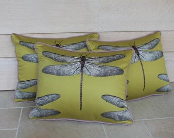 mustard yellow Dragonfly cushion
