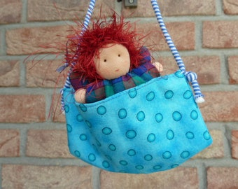 Waldorfpuppe in the pouch, whale village Angel gift for children, rag doll, guardian angels, lucky charms,