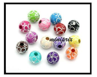 X 10 acrylic round beads 10mm, mix colors.