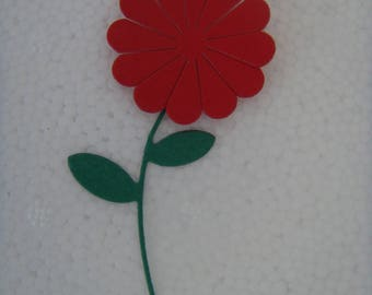 Small red flower with stem cutting