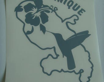 Sticker Department of Martinique Hummingbird and hibiscus in grey vinyl placed on outside glass