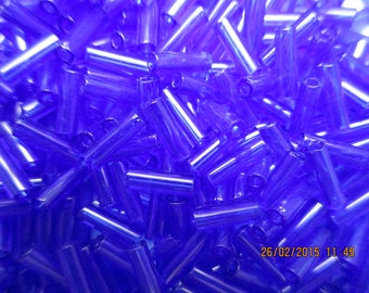 Seed beads tubes sapphire 6 mm * 2 mm 20 g