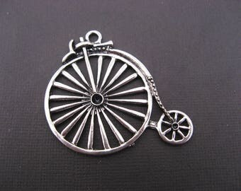 4 large pendants velocipedes 46 mm silver - charm