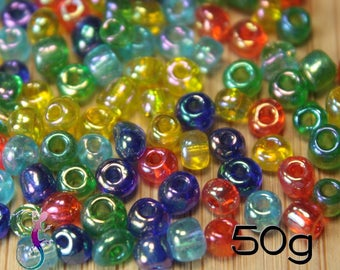 50g 4mm multicolored glass seed beads
