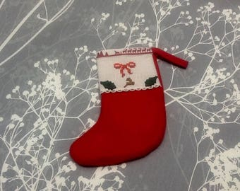 Cute Christmas stocking embroidered and accessorised Christmas