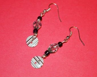 2 black striped studs for pierced earrings