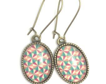 Stud Earrings, geometric glass cabochon.