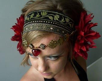 Headband red Priestess headdress headbands costume tribal fusion bellydance, unique flower
