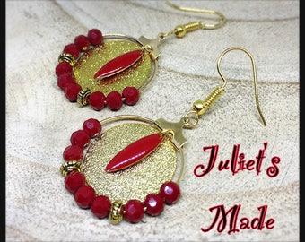 Gold hoop earrings were chic Red