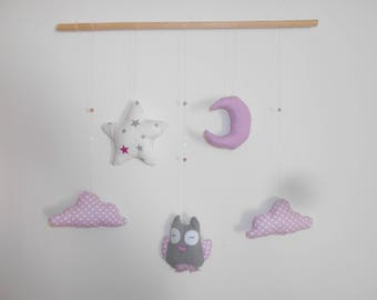 OWL, cloud, Moon and Star Baby mobile pink white and gray
