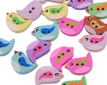 Button 22 x 15 mm wooden birds