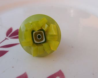 Lime green button, glass and Murano millefiori mosaic ring