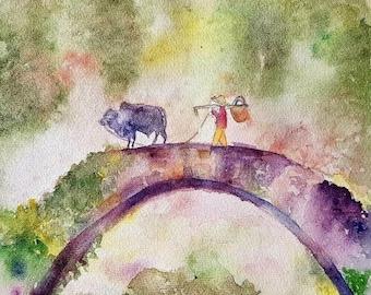 watercolor bridge somewhere in Asia