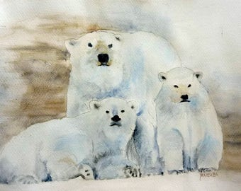the bear family watercolor