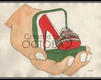 Engagement - Original Handmade one off Luxury Footwear & Fashion art - engagement ring - marriage proposal