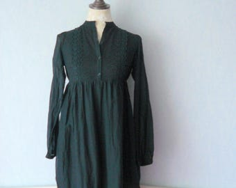 Dress black romantic Bohemian, long sleeves, cotton and lace, women size 38