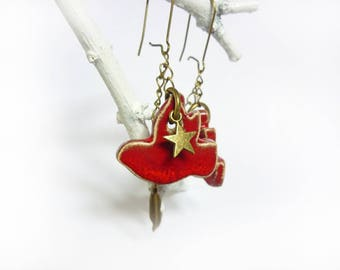 2 red birds ceramic earrings