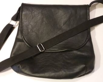 Black faux leather lined satchel