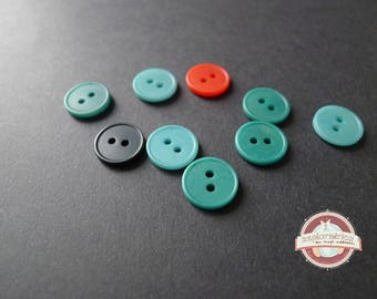 Green Blue Corozzo 13 button round buttons 9 Mm