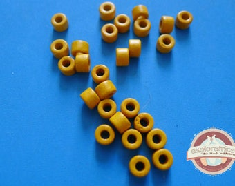 20 ethnic rondelles 4x6mm yellow Ceramic tube beads