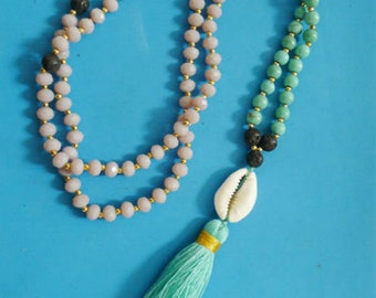long ethnic necklace black pink and turquoise shell tassel