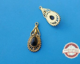 Indian ethnic pendant, gold and black 13x30mm