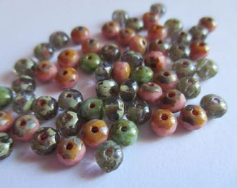 10 pretty Donuts 5 x 3 mm Czech faceted beads