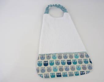 Towel/native bib, canteen turquoise elastic.
