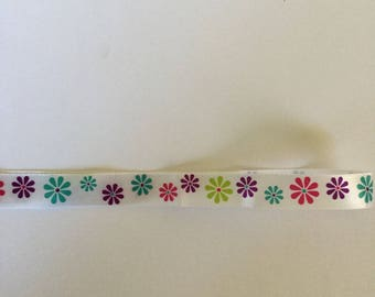 Ribbon grosgrain flowers multi color 15 mm, 1.40 m