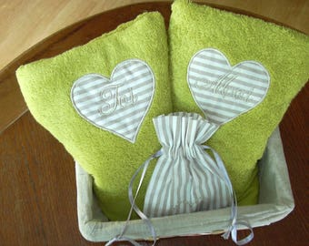 "pair of towels ""You and me"", color lime embroidery heart appliqué"